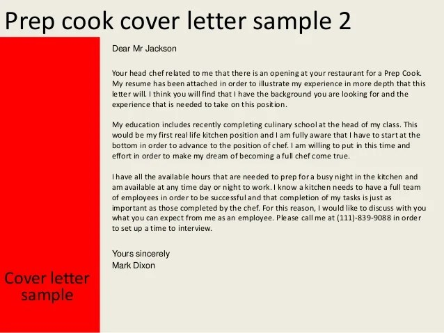 prep cook cover letter - Canreklonec - cover letter sample for chef