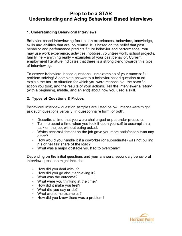 behaviour based interview questions - Akbagreenw