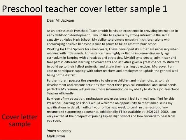 Sample Teacher Resume Bradley Cvs Preschool Teacher Cover Letter