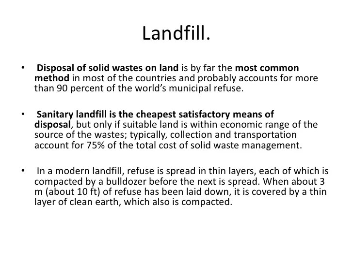 Land Disposal Of Waste And Environmental Pollution