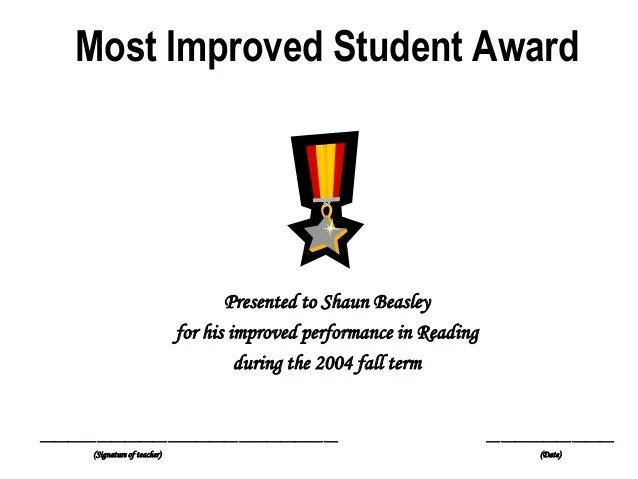 most improved student award radiovkm
