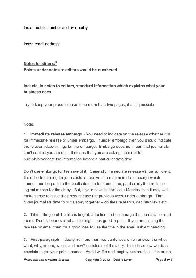 press release template word - Minimfagency - press release template