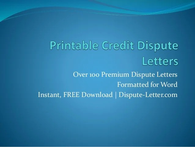 letters to dispute credit