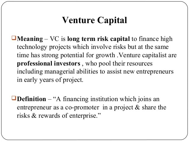 Venture Capital  Ef  Bmeaning