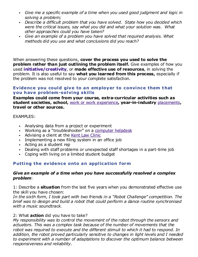 problem solving skills examples - Problem Solving Skills Resume
