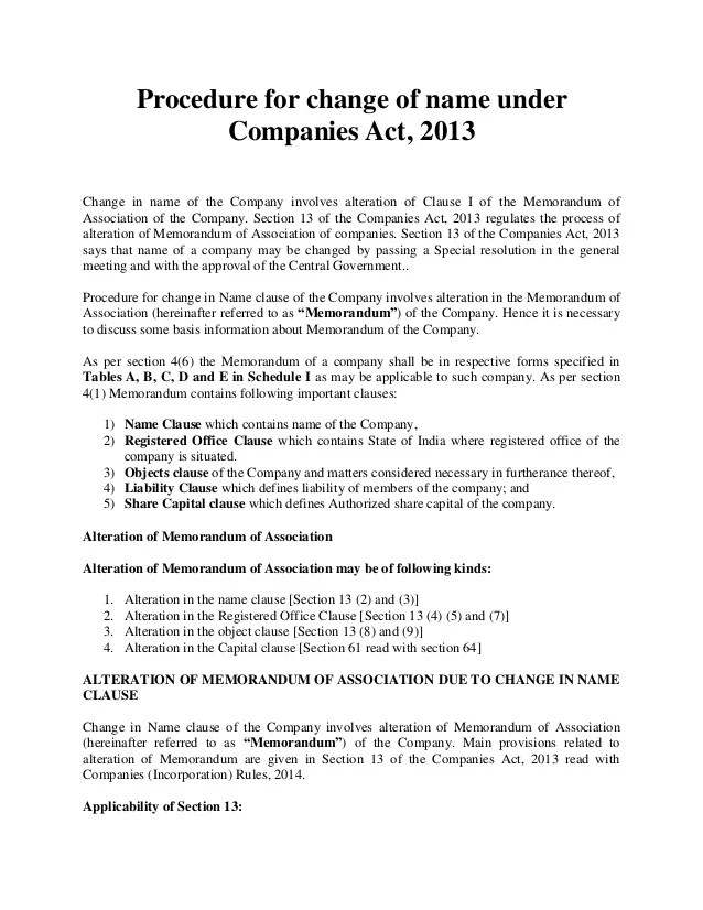 Procedure for change of name under companies act- Khanna & Associates…