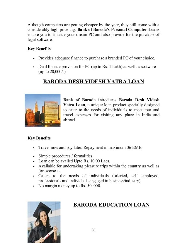 Product & services of bank of baroda