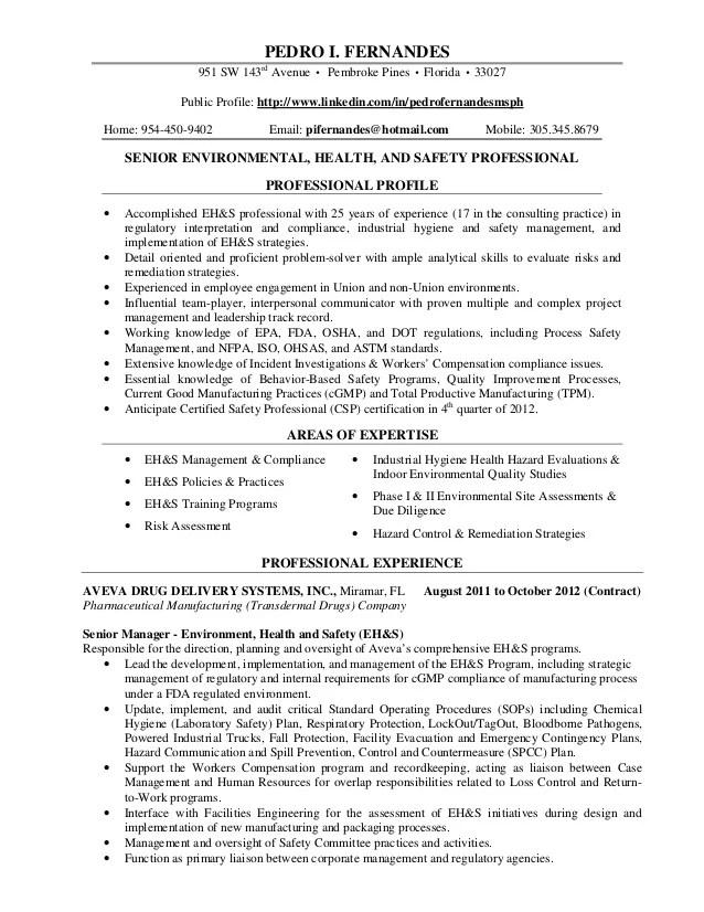 environmental health and safety resumes - Kordurmoorddiner