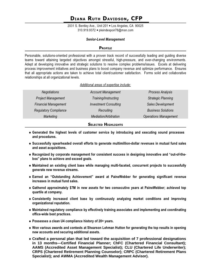 Financial Management Resume Diana Davidson Resume