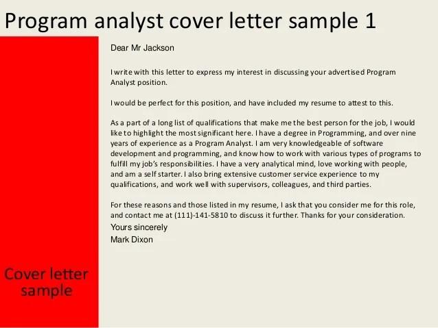 program analyst cover letters - Josemulinohouse