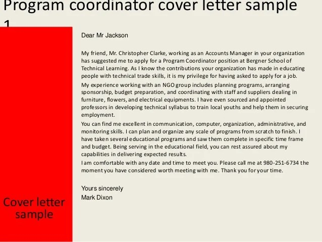 education coordinator cover letter