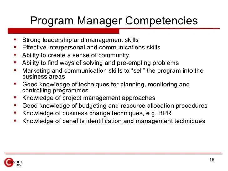program manager duties - Kordurmoorddiner