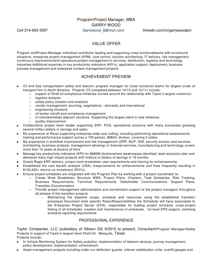 enterprise project management resume - Onwebioinnovate