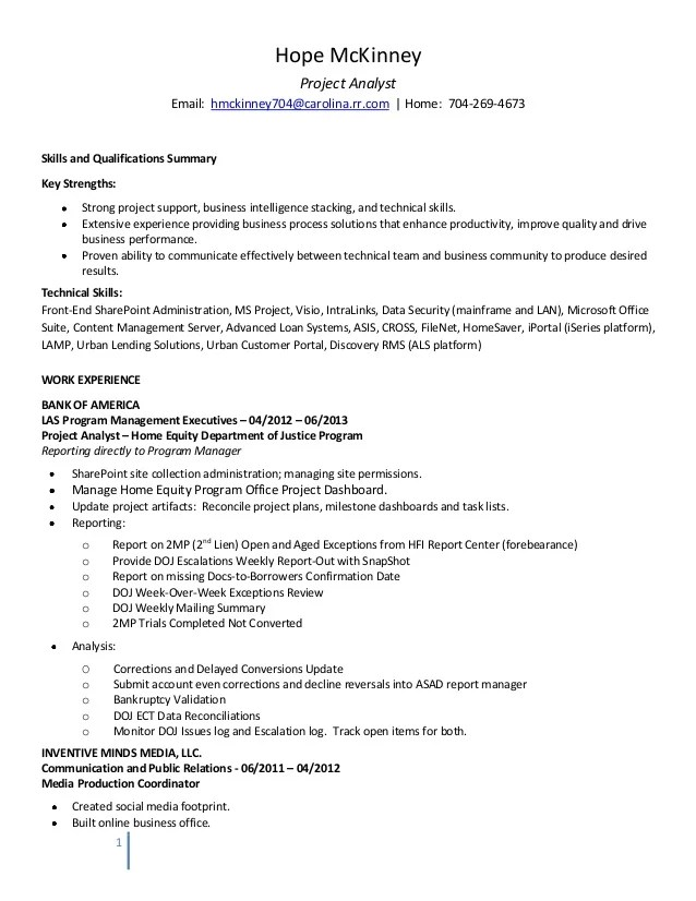 project analyst resumes - Onwebioinnovate - Pmo Analyst Sample Resume
