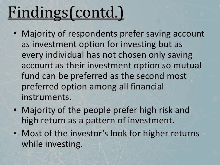 consumer preference towards various financial instrument