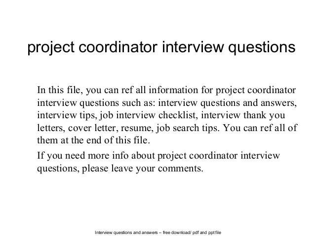 interview questions for project coordinator