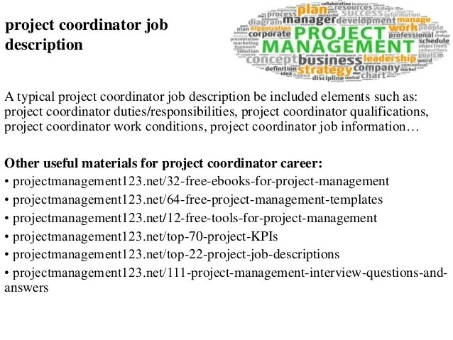 Stunning Project Coordinator Job Description Gallery - Best Resume