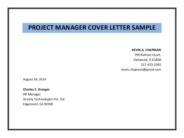 sample resume project manager ngo - Project Manager Cover Letter Sample