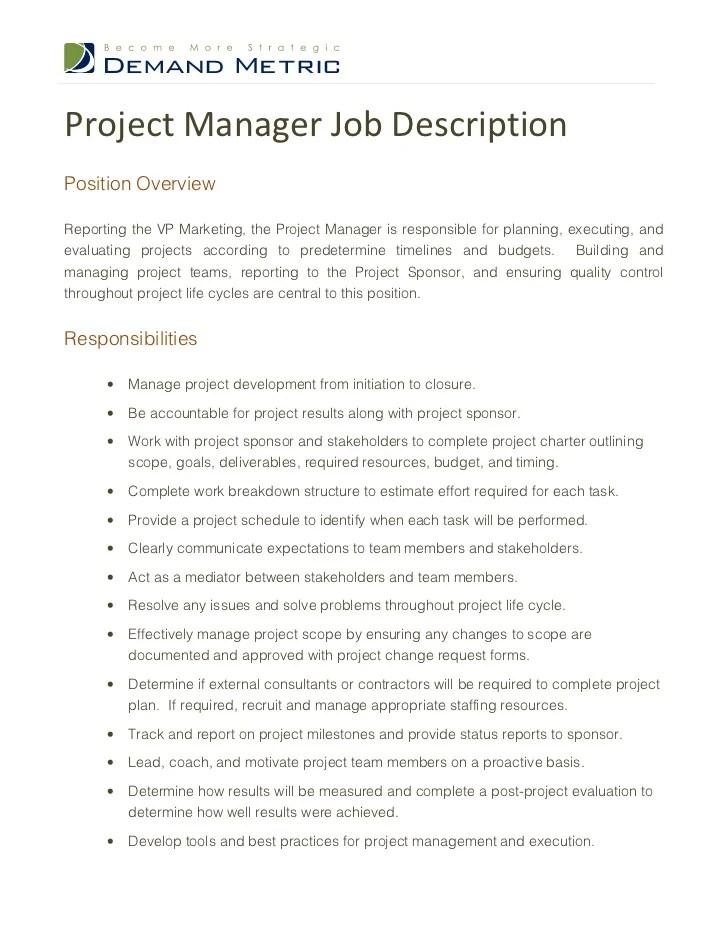 project management job duties - Romeolandinez - management job description