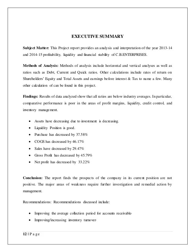 financial summary example - Josemulinohouse - executive summary format for project report