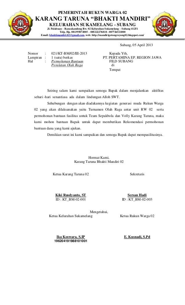 Contoh Proposal Olahraga Contoh Proposal Dana Kegiatan Slideshare Proposal Permohonan Perlengkapan Olahraga Karang Taruna Bhakti Mandiri