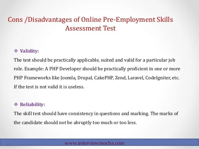 Pros & Cons of Online Pre-employment Skills Assessment Tests