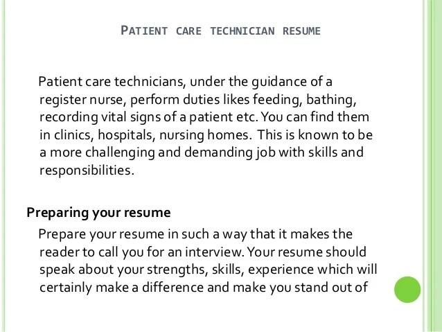 sample resume of patient care technician