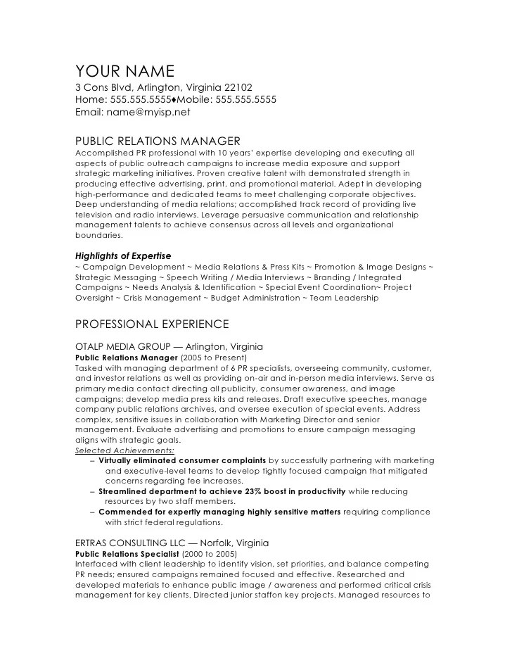 Bsr Resume Sample Library And More Public Relations Manager Cv Template