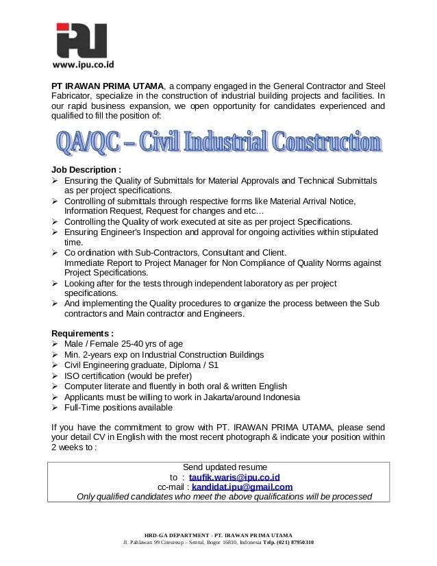 Resume World Professional Resume Service 1 Resume Qa Qc Civil Industrial Construction