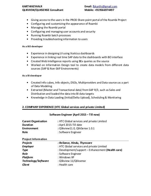 qlik sense sample resumes