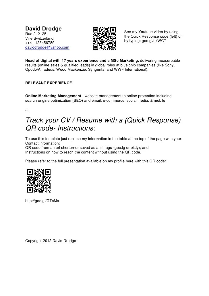 resume with qr code