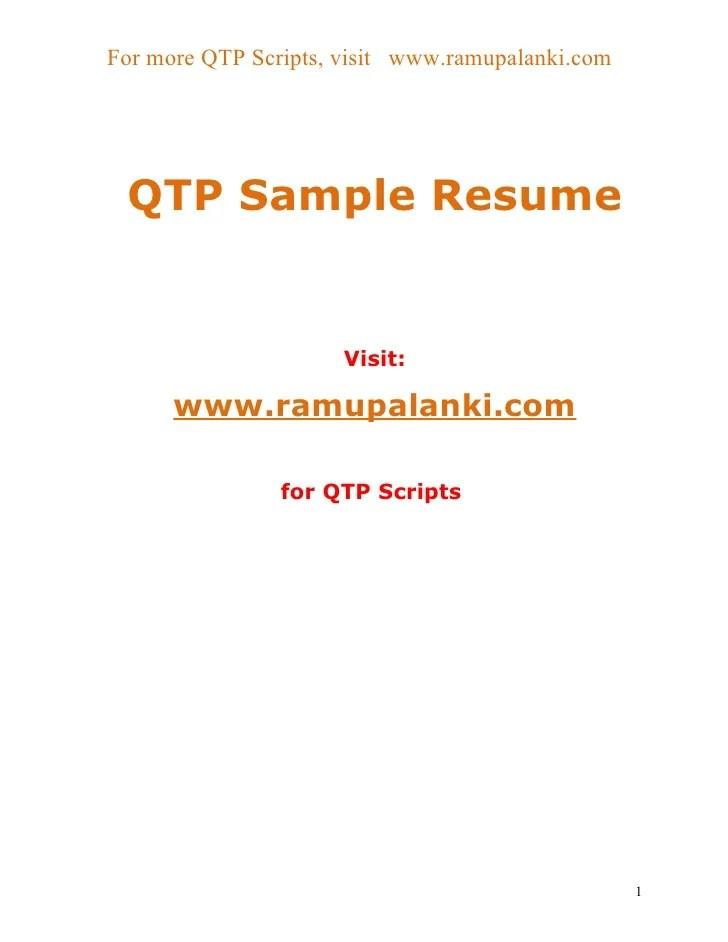 Qtp Resume | Resume CV Cover Letter