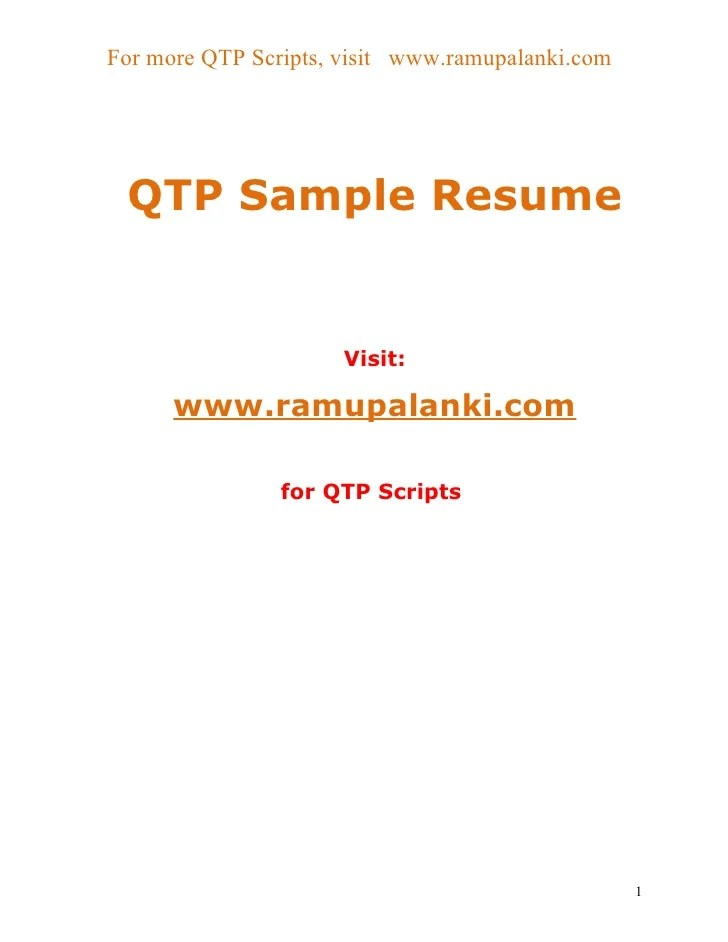 best qtp sample resume for software testers contemporary simple