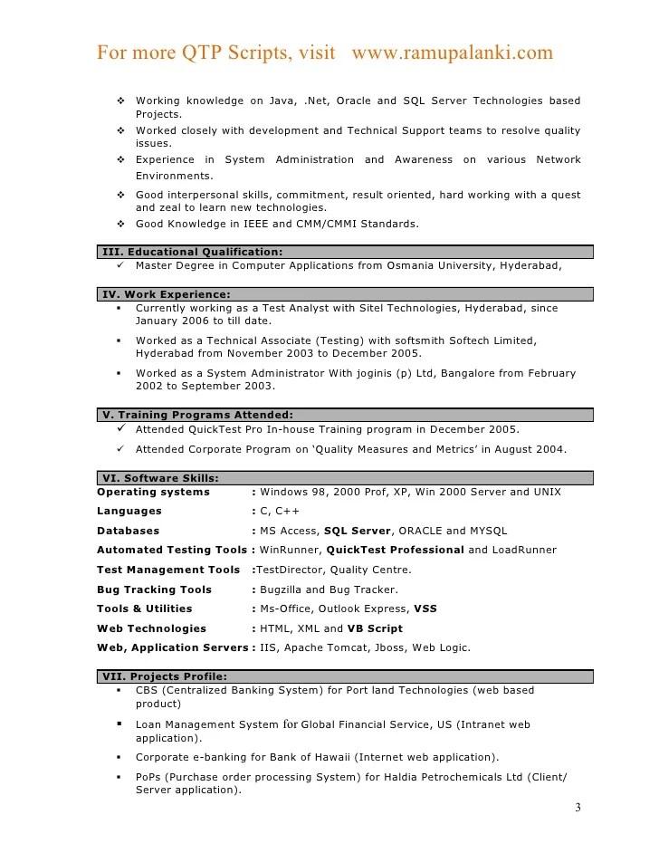 Qa Analyst Resume Sample Quality Assurance Analyst Resume Qtp Sample Resume