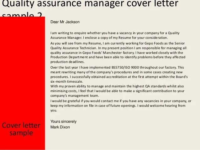 Sample Cover Letter For Resume Quality Assurance Quality Assurance And Analyst Resume Cover Letter Sample Quality Assurance Manager Cover Letter