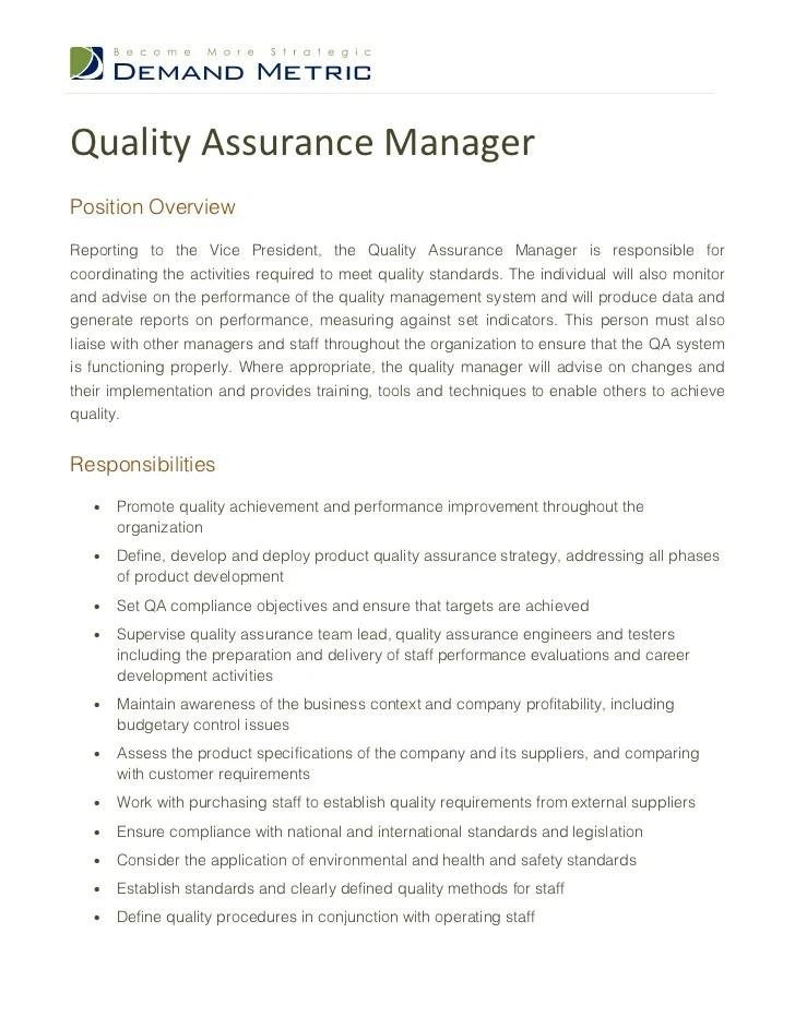3 Quality Assurance Engineer Resume Samples Examples Quality Assurance Manager Job Description