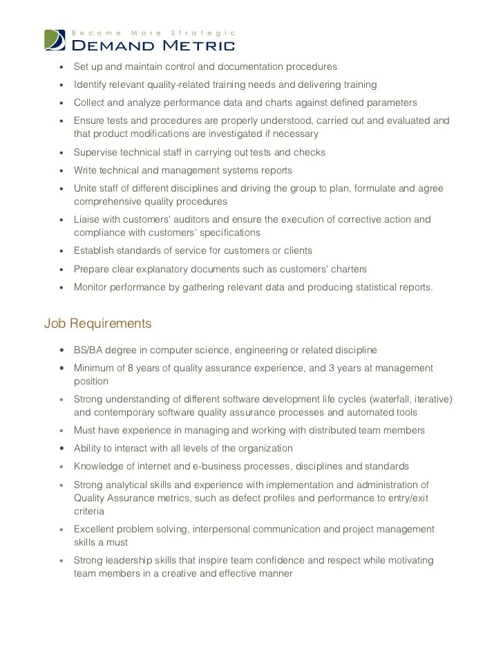 quality assurance manager job description - Romeolandinez - Quality Control Job Description