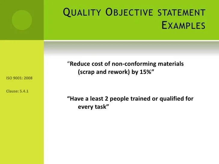 quality assurance objective statement