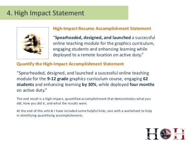 impact statement resume examples
