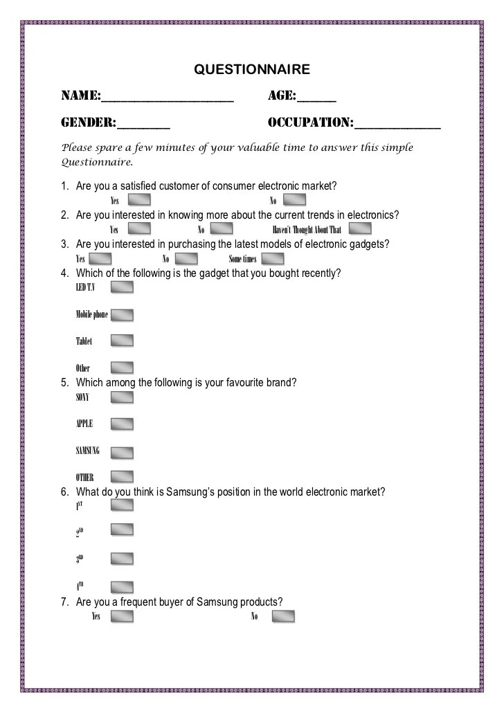 Dissertation survey examples Questionnaire Thesis  QUESTIONNAIRE FORMAT