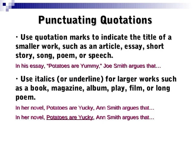 Movie title punctuation in an essay