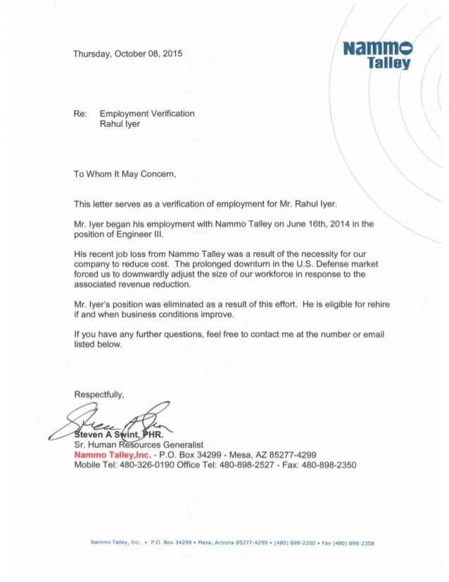 recommendation letter from previous employer