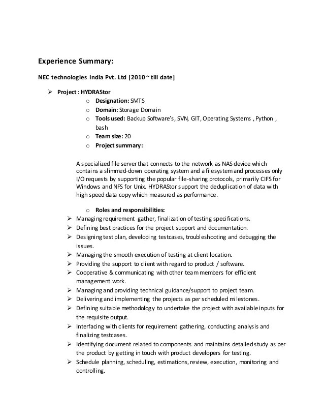 resume with jira experience