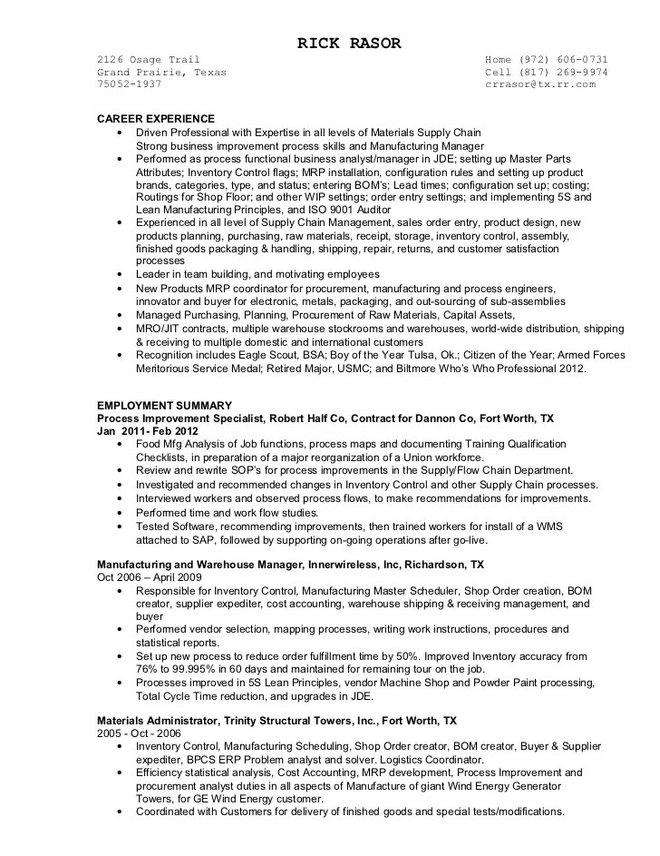 resume objective examples purchasing manager