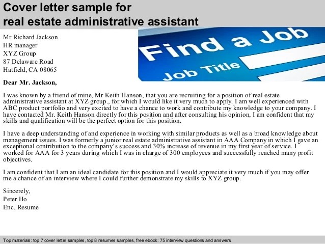 cover letter for real estate administrative assistant - Baskanidai
