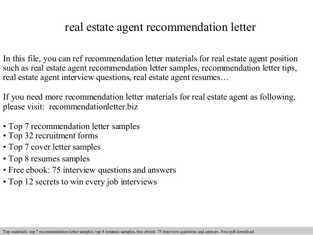 realtor recommendation letters