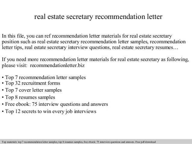 Letters Of Recommendation Real Estate Secretary Recommendation Letter
