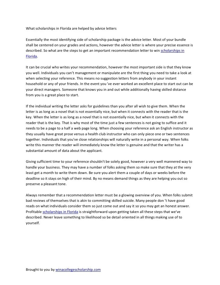 Letter Of Recommendation For Scholarship Tips Samples Recomendation Letter For Scholarships In Florida