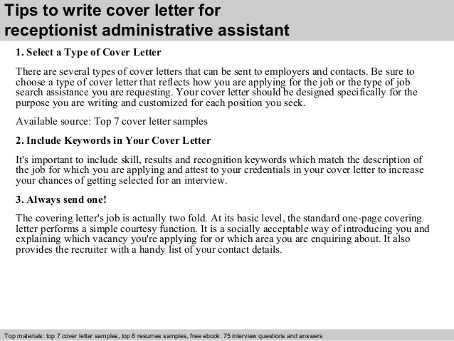 cover letter receptionist administrative assistant - Maggi