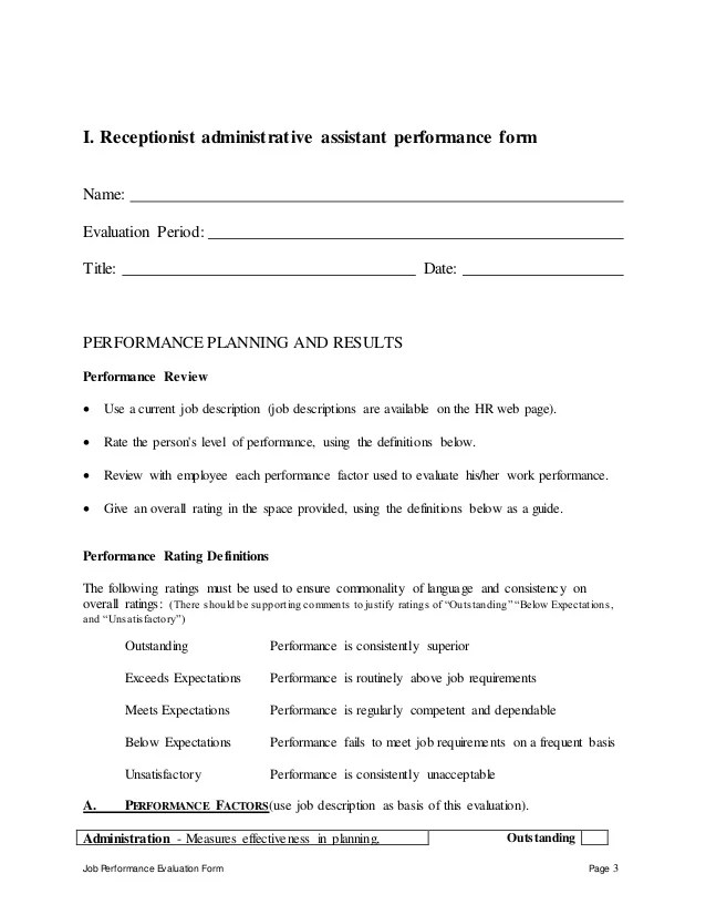Sample Administrative Assistant Resume And Tips Receptionist Administrative Assistant Perfomance Appraisal 2